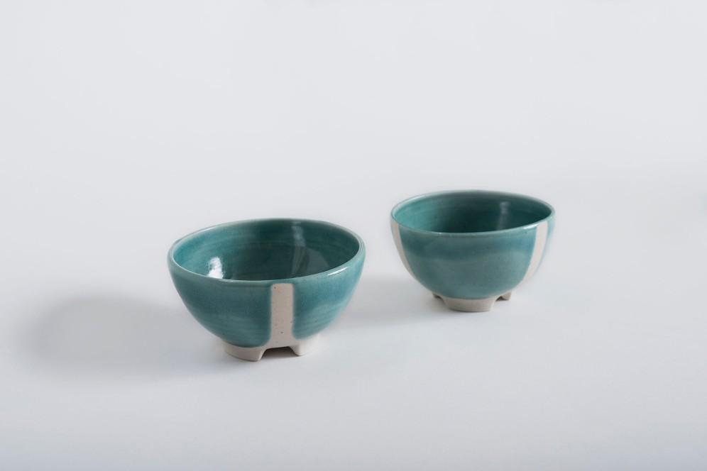 Cuencos trípodes porcelana azul img1