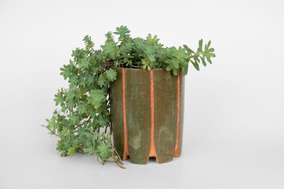 Maceta-cilindro-verde